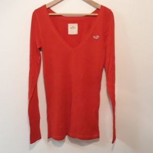 Hollister New Red Long Sleeve Tee Size L
